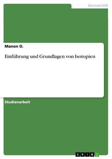 Einführung und Grundlagen von Isotopien - Blick ins Buch