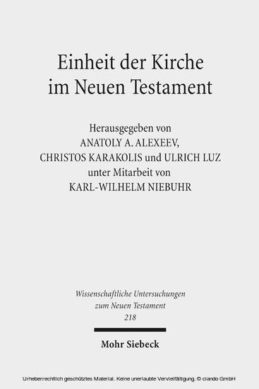 Einheit der Kirche im Neuen Testament - Blick ins Buch
