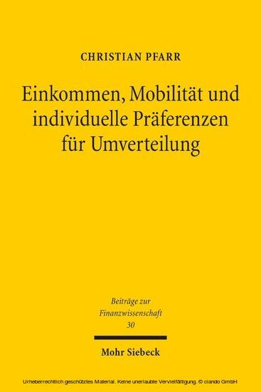 Einkommen, Mobilität und individuelle Präferenzen für Umverteilung - Blick ins Buch