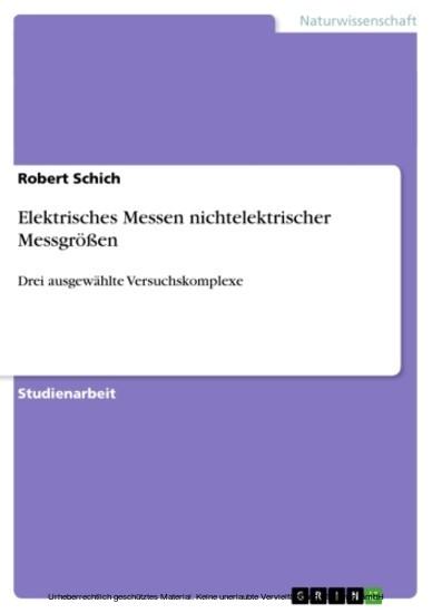 Elektrisches Messen nichtelektrischer Messgrößen - Blick ins Buch