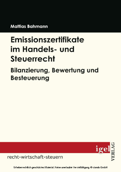 Emissionszertifikate im Handels- und Steuerrecht - Blick ins Buch