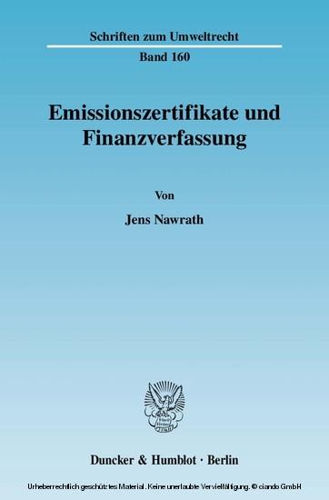Emissionszertifikate und Finanzverfassung. - Blick ins Buch