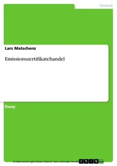 Emissionszertifikatehandel - Blick ins Buch