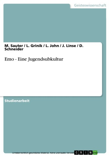 Emo - Eine Jugendsubkultur - Blick ins Buch