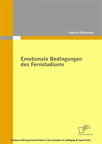 Emotionale Bedingungen des Fernstudiums - Blick ins Buch