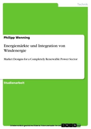 Energiemärkte und Integration von Windenergie - Blick ins Buch