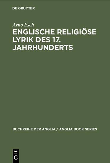 Englische religiöse Lyrik des 17. Jahrhunderts - Blick ins Buch