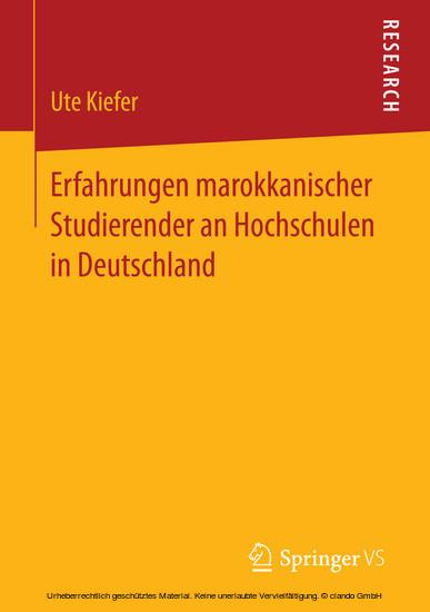 Erfahrungen marokkanischer Studierender an Hochschulen in Deutschland - Blick ins Buch