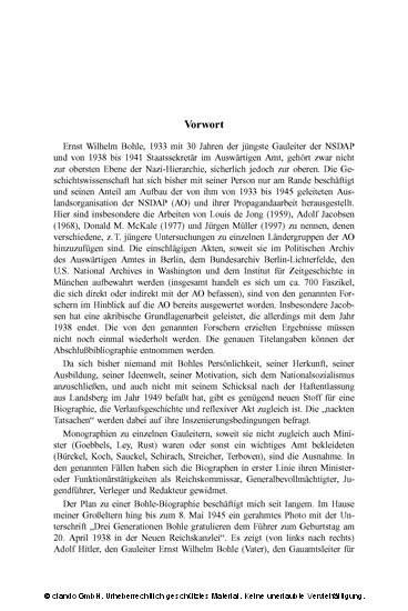 Ernst-Wilhelm Bohle. Gauleiter im Dienst von Partei und Staat - Blick ins Buch