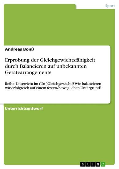 Erprobung der Gleichgewichtsfähigkeit durch Balancieren auf unbekannten Gerätearrangements - Blick ins Buch