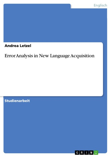 Error Analysis in New Language Acquisition - Blick ins Buch