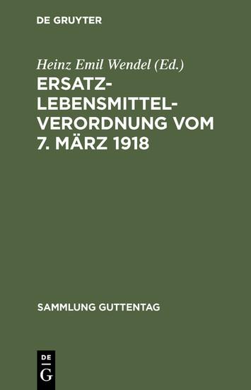 Ersatzlebensmittelverordnung vom 7. März 1918 - Blick ins Buch