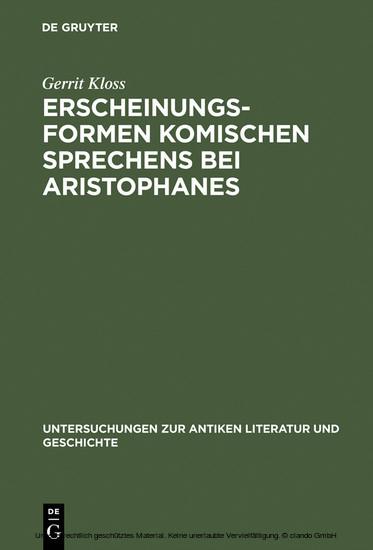 Erscheinungsformen komischen Sprechens bei Aristophanes - Blick ins Buch