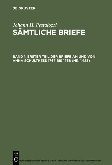 Erster Teil der Briefe an und von Anna Schulthess 1767 bis 1768 (Nr. 1-185) - Blick ins Buch