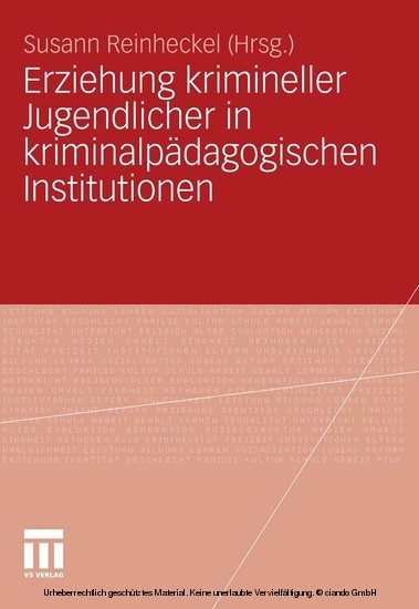 Erziehung krimineller Jugendlicher in kriminalpädagogischen Institutionen - Blick ins Buch