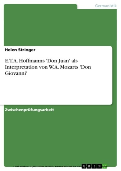 E.T.A. Hoffmanns 'Don Juan' als Interpretation von W.A. Mozarts 'Don Giovanni' - Blick ins Buch