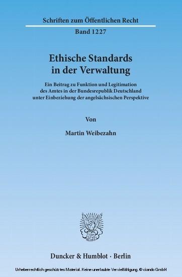 Ethische Standards in der Verwaltung. - Blick ins Buch