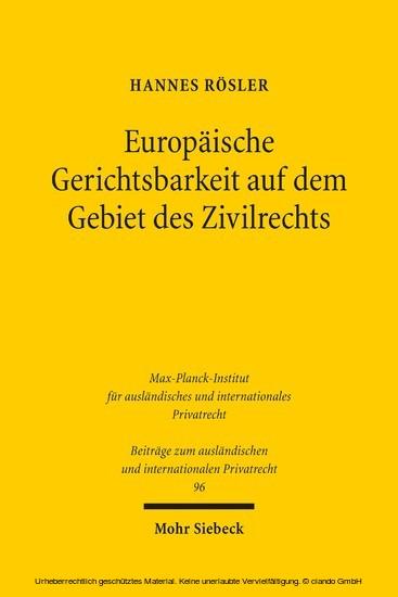 Europäische Gerichtsbarkeit auf dem Gebiet des Zivilrechts - Blick ins Buch