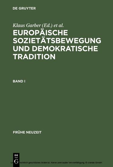 Europäische Sozietätsbewegung und demokratische Tradition - Blick ins Buch