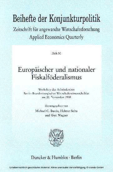 Europäischer und nationaler Fiskalföderalismus. - Blick ins Buch