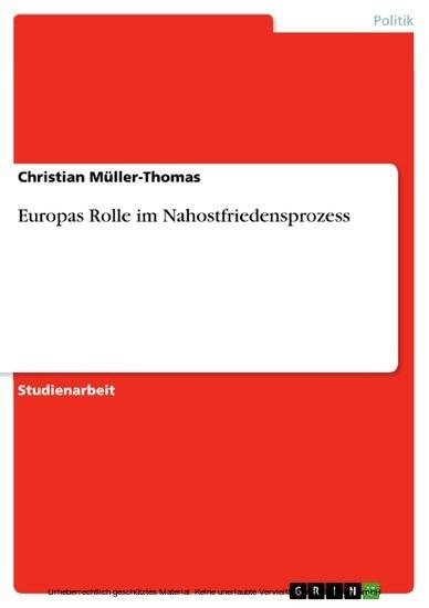 Europas Rolle im Nahostfriedensprozess - Blick ins Buch