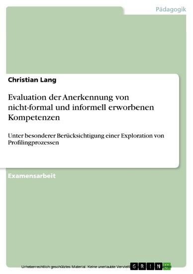 Evaluation der Anerkennung von nicht-formal und informell erworbenen Kompetenzen - Blick ins Buch