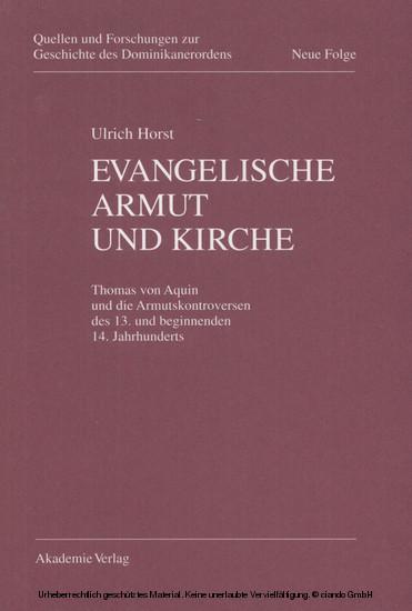 Evangelische Armut und Kirche - Blick ins Buch