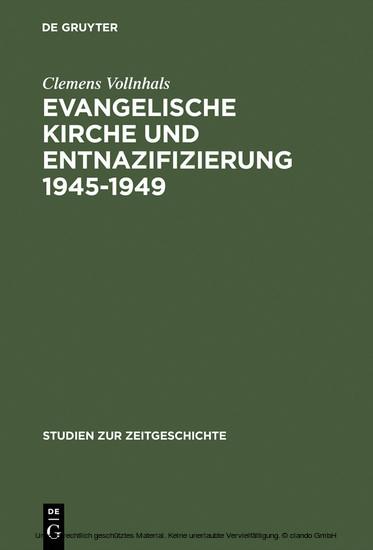 Evangelische Kirche und Entnazifizierung 1945-1949 - Blick ins Buch