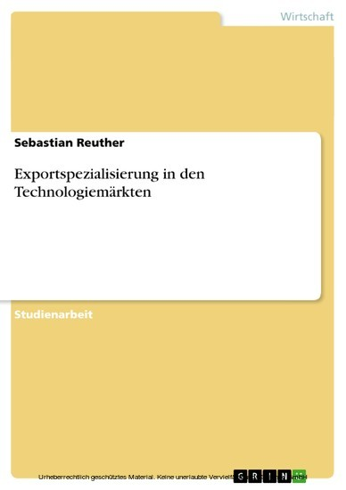Exportspezialisierung in den Technologiemärkten - Blick ins Buch