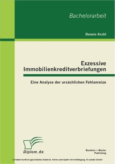 Exzessive Immobilienkreditverbriefungen: Eine Analyse der ursächlichen Fehlanreize - Blick ins Buch