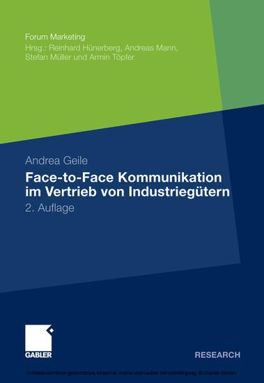 Face-to-Face Kommunikation im Vertrieb von Industriegütern - Blick ins Buch