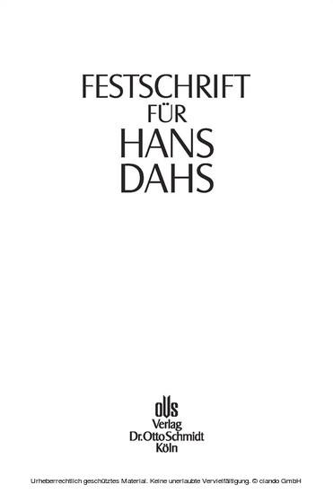 Festschrift für Hans Dahs - Blick ins Buch