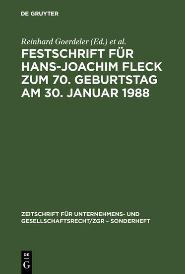 Festschrift für Hans-Joachim Fleck zum 70. Geburtstag am 30. Januar 1988 - Blick ins Buch