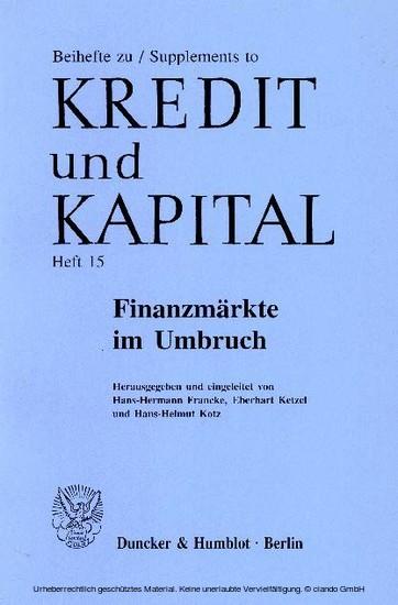 Finanzmärkte im Umbruch. - Blick ins Buch