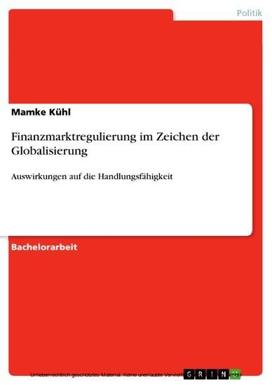 Finanzmarktregulierung im Zeichen der Globalisierung - Blick ins Buch