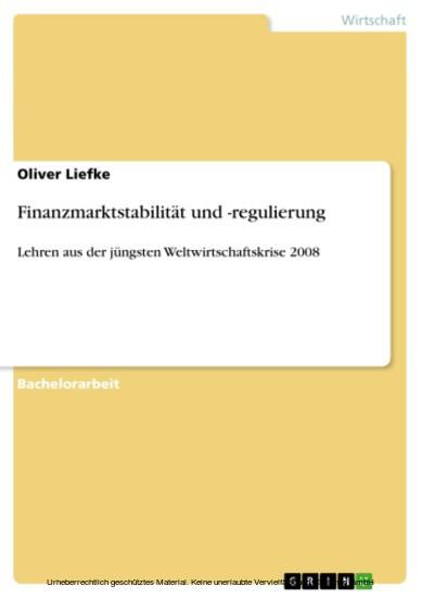 Finanzmarktstabilität und -regulierung - Blick ins Buch