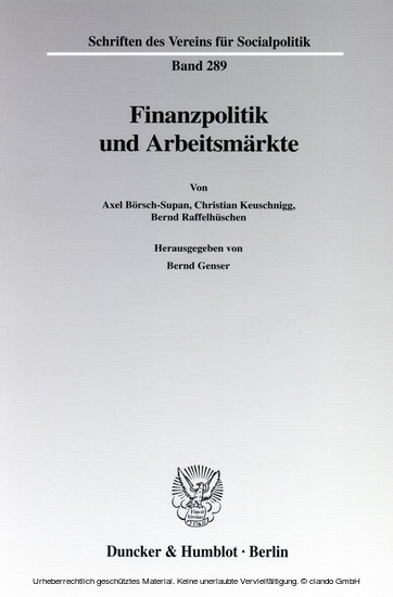 Finanzpolitik und Arbeitsmärkte. - Blick ins Buch