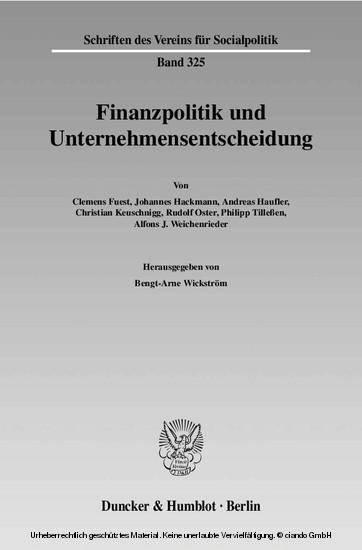 Finanzpolitik und Unternehmensentscheidung. - Blick ins Buch