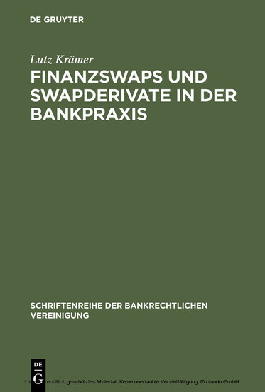 Finanzswaps und Swapderivate in der Bankpraxis - Blick ins Buch