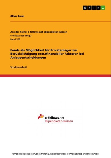 Fonds als Möglichkeit für Privatanleger zur Berücksichtigung extrafinanzieller Faktoren bei Anlageentscheidungen - Blick ins Buch