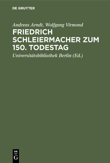 Friedrich Schleiermacher zum 150. Todestag - Blick ins Buch