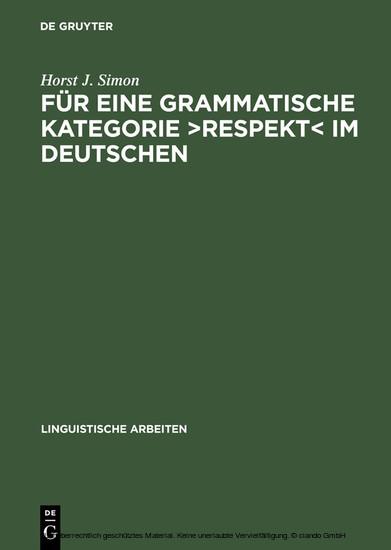 Für eine grammatische Kategorie >Respekt< im Deutschen - Blick ins Buch