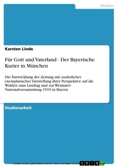 Für Gott und Vaterland - Der Bayerische Kurier in München - Blick ins Buch