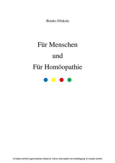 Für Menschen und Für Homöopathie - Blick ins Buch