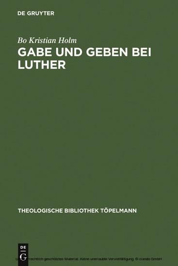 Gabe und Geben bei Luther - Blick ins Buch