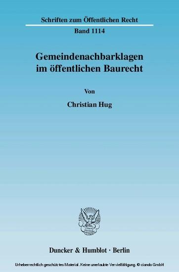 Gemeindenachbarklagen im öffentlichen Baurecht. - Blick ins Buch