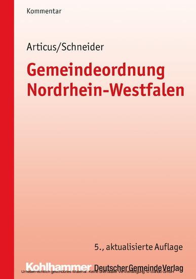 Gemeindeordnung Nordrhein-Westfalen - Blick ins Buch