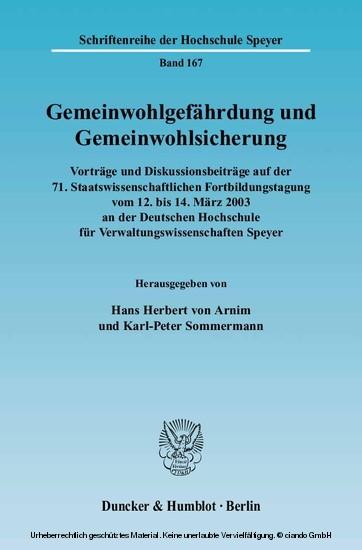 Gemeinwohlgefährdung und Gemeinwohlsicherung. - Blick ins Buch