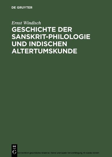Geschichte der Sanskrit-Philologie und Indischen Altertumskunde - Blick ins Buch