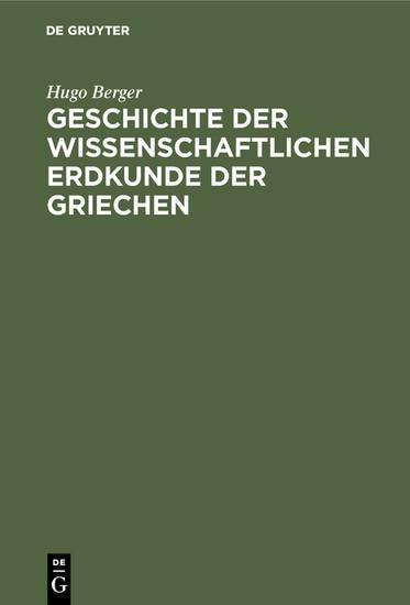 Geschichte der wissenschaftlichen Erdkunde der Griechen - Blick ins Buch